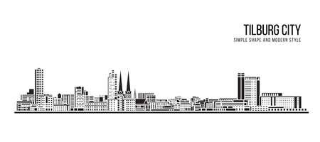 Cityscape Building Abstract shape and modern style art Vector design -   Tilburg city 일러스트