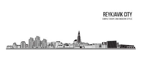 Cityscape Building Abstract shape and modern style art Vector design - Reykjavik city Vetores
