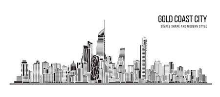 Cityscape Building Abstract shape and modern style art Vector design - Gold Coast city Vetores