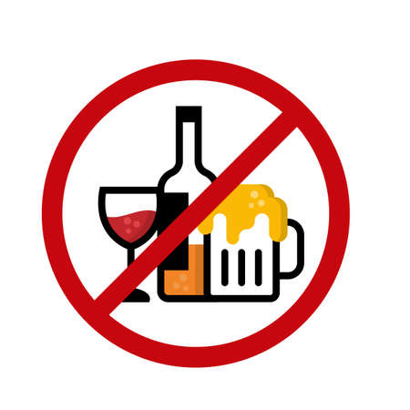 No alcohol icon sign with wine glass , Liquor bottle and Beer glass in red circle stop sign vector design