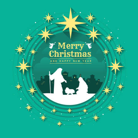 Merry christmas - Birth of Christ , Birthday Jesus in circle frame and gold star around on green background  vector illustration design