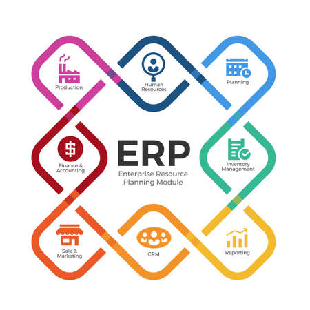 Enterprise resource planning (ERP) modules with Square rounded edges cross diagram chart and icon sign vector design