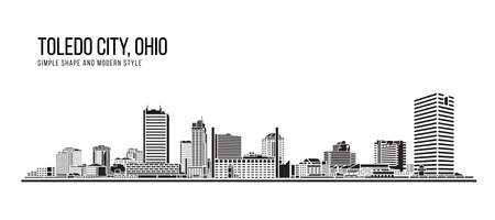 Cityscape Building Abstract Simple shape and modern style art Vector design - Toledo city , Ohio Illustration