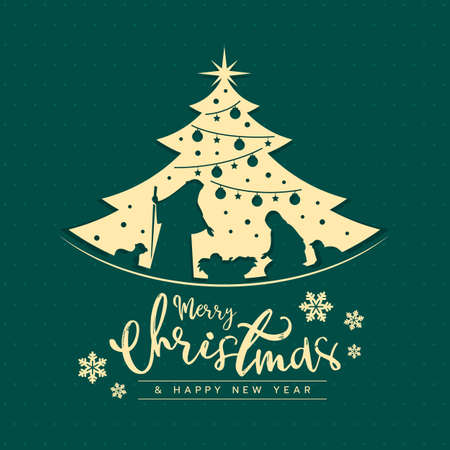 Merry Christmas and happy new year banner card with mary and joseph in a manger with baby Jesus in gold Christmas tree sign on dot green texture design