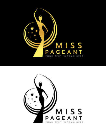 miss pageant logo with gold and black abstract Beauty queen wear Crown and Raise hand waving and star sign vector dersign