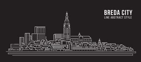 Cityscape Building Line art Vector Illustration design -  Breda city Vectores