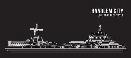 Cityscape Building Line art Vector Illustration design - Haarlem city