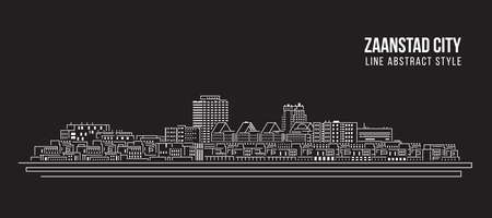 Cityscape Building Line art Vector Illustration design -  Zaanstad city