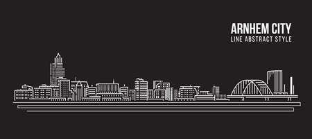 Cityscape Building Line art Vector Illustration design -  Arnhem city