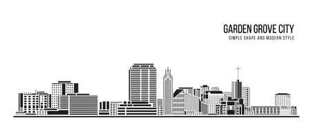 Cityscape Building Abstract Simple shape and modern style art Vector design - Garden Grove city Ilustración de vector