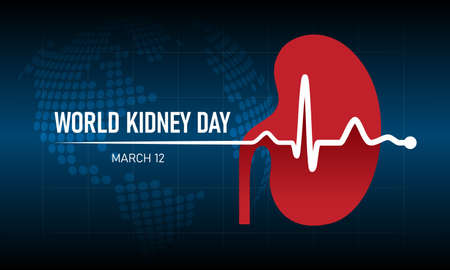 world kidney day - white Heart rhythm wave and kidney sign on dot circle globle world texture background vector design