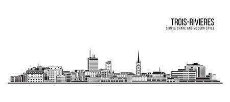 Cityscape Building Abstract Simple shape and modern style art Vector design - Trois-Rivieres