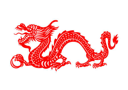 Red Chinese Zodiac Animals Papercutting - china dragon holding orb
