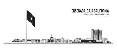 Cityscape Building Abstract Simple shape and modern style art Vector design - Ensenada city, Baja California