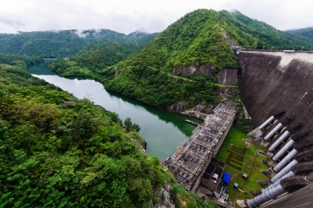 bhumibol: The Biggest Concrete Dam in Thailand  Stock Photo