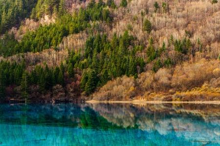 Jiuzhaigou Valley Lanscape with Blue-green Lake