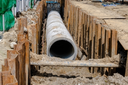 effluent: Concrete drainage on construction site Stock Photo