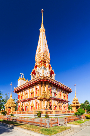 The most important of buddhist temples of Phuket is Wat Chalong or formally Wat Chaiyathararam with the blue sky in Phuket, South of Thailand. Public Place