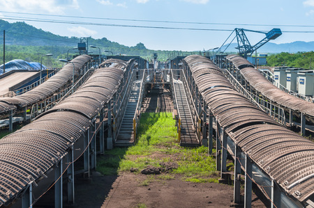 Outdoor incline long and large conveyor with rubber belt conveyor for transportation line for processing the coal in the coal mine Stock Photo