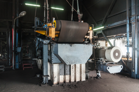 Automatic Magnetic separator Machinery for separate ferrous and nonferrous material from Coal on the rubber conveyor. 写真素材