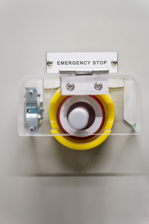Red Emergency Stop Button or Safety press switches for machine control industry, lab, laboratory. that after a press or push the machine cancel and help  people danger.