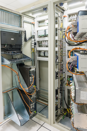 Electrical Panel or equipment Switch of electrical room  switch gear and control room in electricity industry, Power Plant, Substation including the component such as voltage switch, circuit, wire.