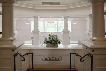 elegant staircase: Elegant Vintage Interior Ballroom Staircase Entrance with Columns