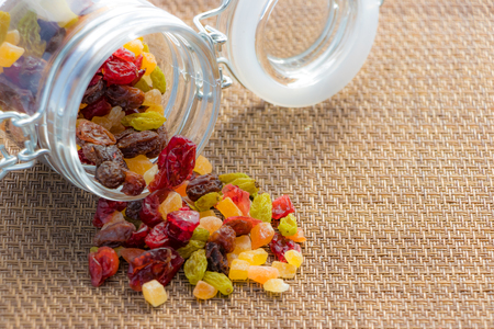 Dried fruits (with copy space) Stock Photo