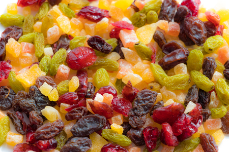 Dried fruits spread all over Stock Photo