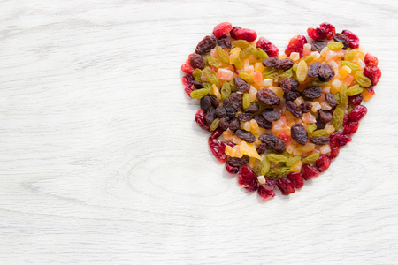 Heart made from dried fruits