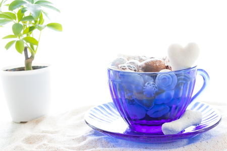 Teacup packed with tropical memories 写真素材
