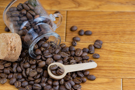 Coffee beans and small bottles