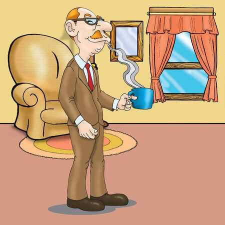 smilling: old man drinking in house, smilling
