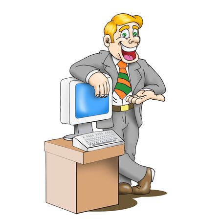 Sales man cartoon artwork line-art with empty balloon Stock Photo - 4366374