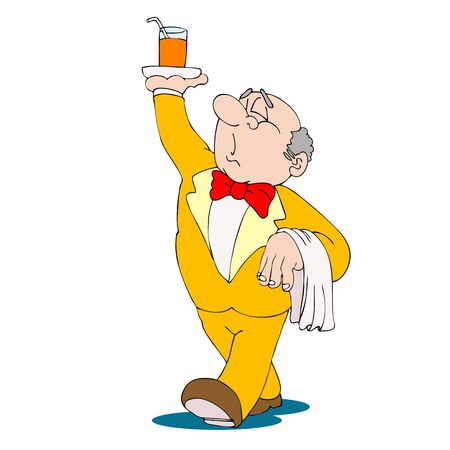 Waiter, walking with beverage on tray in his hand. Fun cartoon style. Vector illustration. Stock Illustration - 4366359