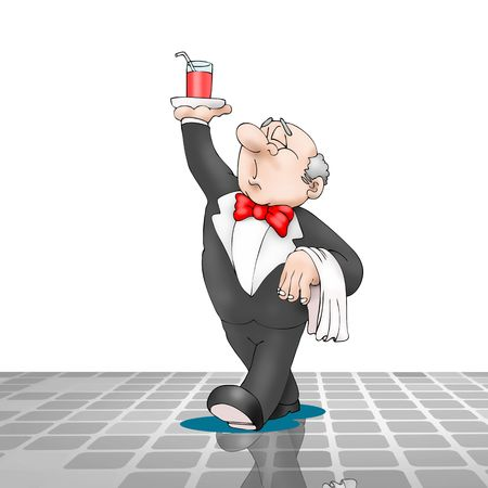 restaurant bill: Waiter, walking with beverage on tray in his hand. Fun cartoon style. Vector illustration.
