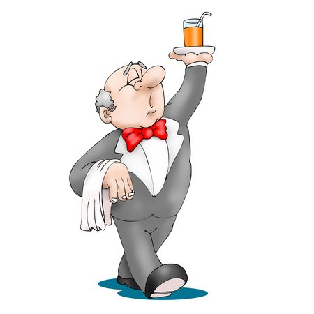 Waiter, walking with beverage on tray in his hand. Fun cartoon style. Vector illustration.