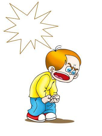 personne en colere: Un dessin anim� de gar�on en col�re isol� sur fond blanc