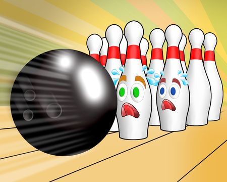 bowling: all pin strike down by bowling ball, turkey