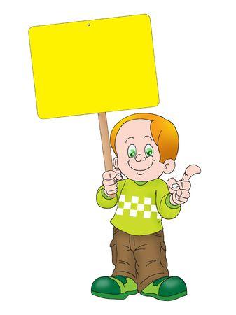 Boy holding noticeboard isolated on white photo