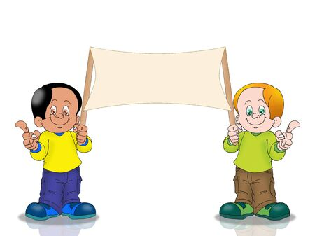 two Boy holding noticeboard isolated on white photo