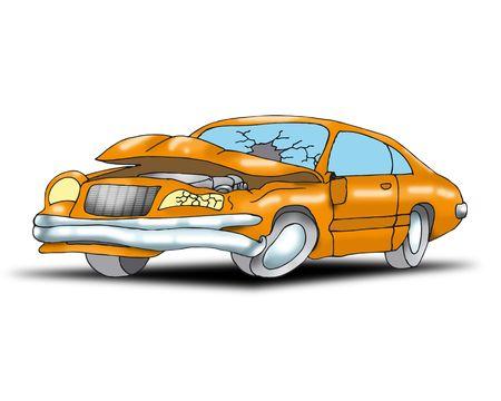crashed: Car destroyed in a crash