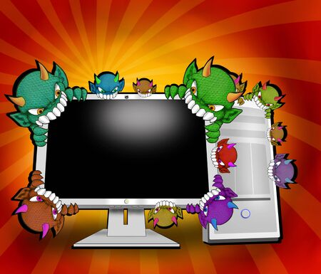 computer attack by variety of virusess Stock Photo - 4929499