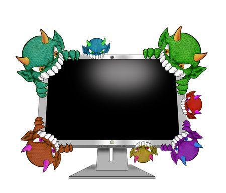 computer attack by variety of virusess Stock Photo - 4929491