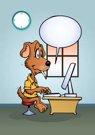 smart: illustration of a dog using computer