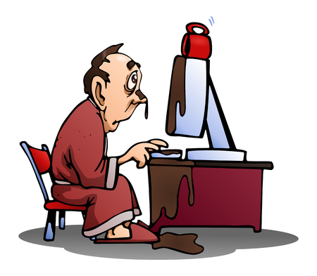 illustration of a man spill his coffee on computer on isolated white background
