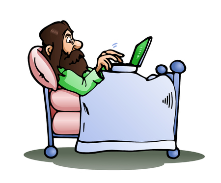 goffo: illustration of a lazy man play laptop on bed on isolated white background Archivio Fotografico