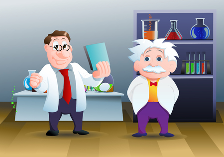 illustration of a cartoon two genius scientist Stock Photo