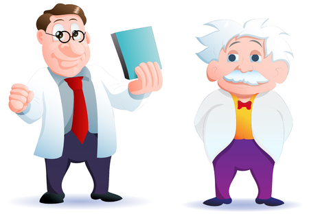 illustration of a cartoon two genius scientist on isolated white background