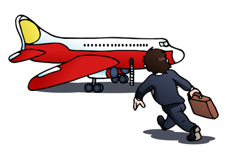 Illustration of a businessman try to catching the plane on isolated white background